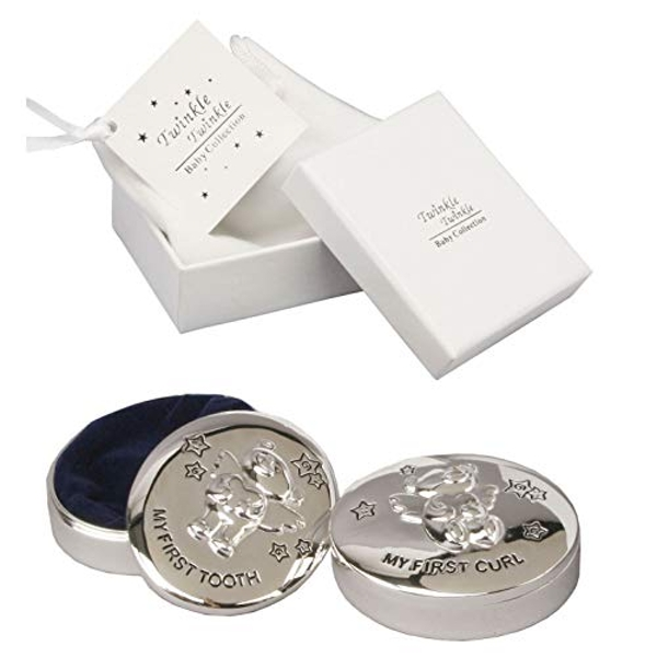Twinkle Twinkle Silver-Plated Baby's First Tooth & Curl Box