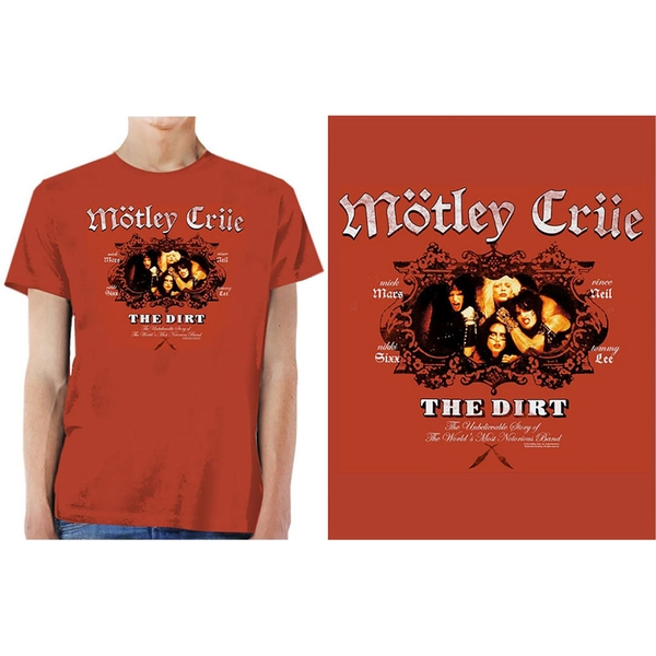 Motley Crue - The Dirt Men's Large T-Shirt - Vintage Red