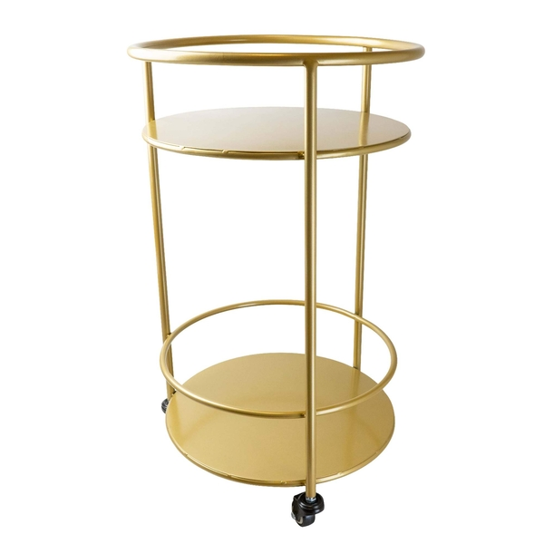 Round Metal Gold Trolley with Two Shelves