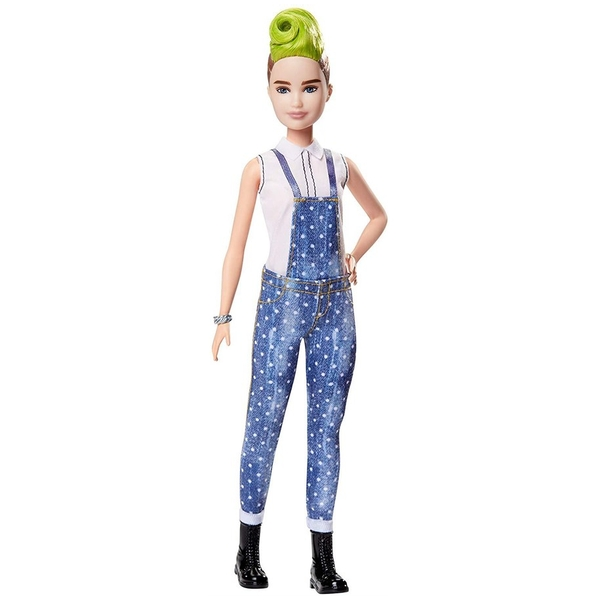 Barbie Fashionista Doll - Green Striped Mohawk