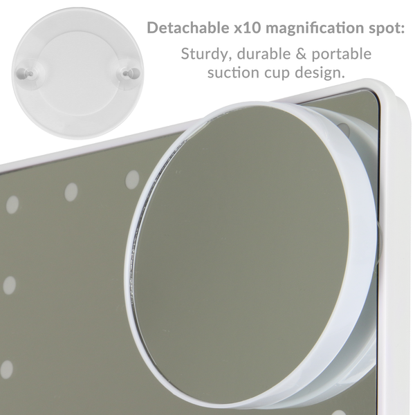 LED Light Up Illuminated Make Up Bathroom Mirror With Magnifier | M&W White New - Image 5
