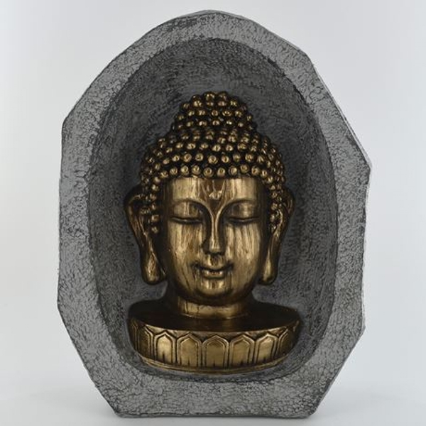 Gold Buddha Head In Stone Sculpture 23cm