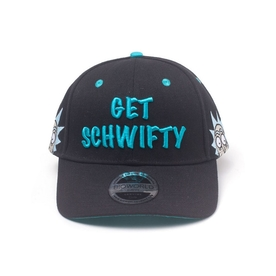 Rick And Morty - Embroidered Get Schwifty Unisex Pop-Lock Fitting Strap Cap - Black/Turquoise
