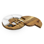 Acacia Round Cheese Board & Knives Set | M&W