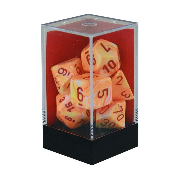 Chessex Poly 7 Dice Set: Festive Sunburst With Red