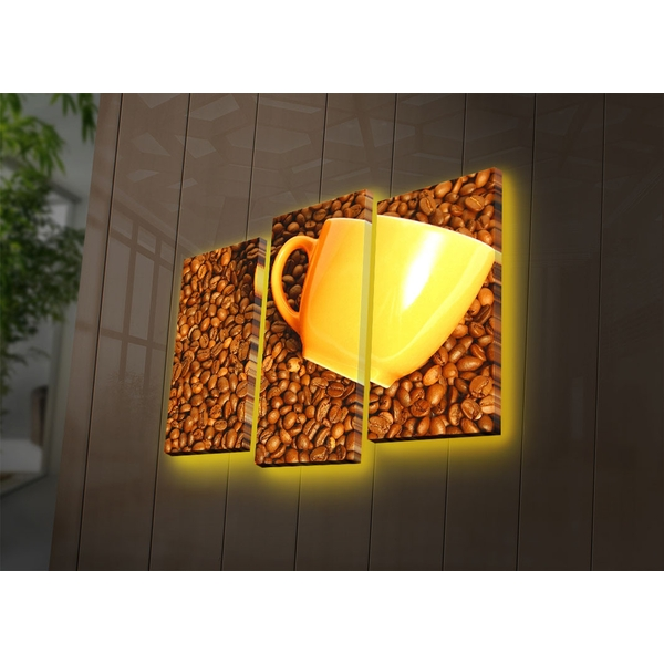 3PATDACT-1 Multicolor Decorative Led Lighted Canvas Painting (3 Pieces)