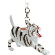 Little Paws Key Ring Silver Tabby Cat