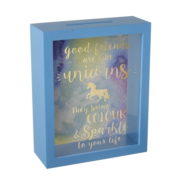 Blue Wooden Unicorn Money Box