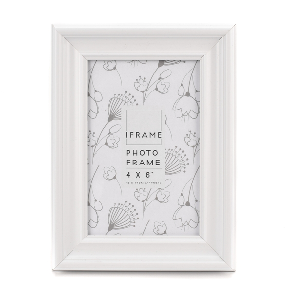"""iFrame White Thick Wood Photo Frame 4"""" x 6"""""""