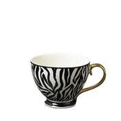 Animal Luxe Footed Mug Zebra Print Black with Gold Handle