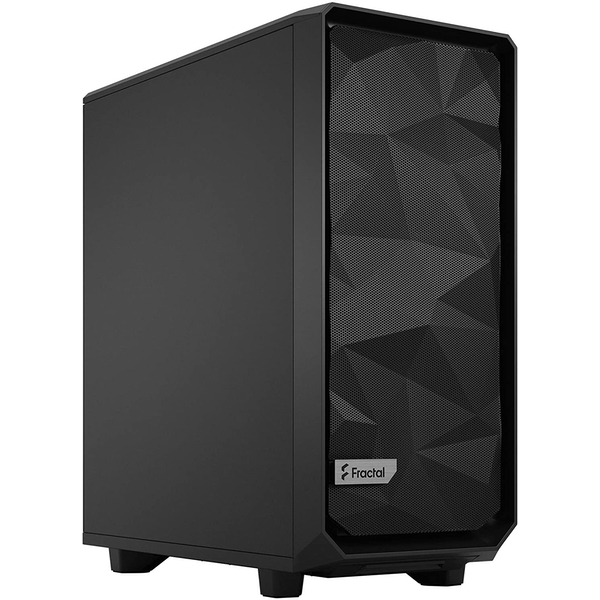 Fractal Design Meshify 2 Compact (Black Solid) Gaming Case, ATX, Angular Mesh Front, 3 Fans, Detachable Front Filter, USB-C
