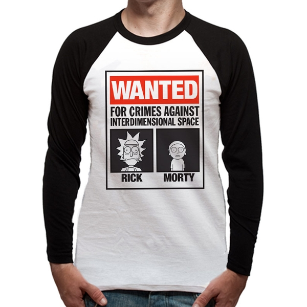 Rick And Morty - Wanted Poster Men's X-Large Baseball Shirt - White