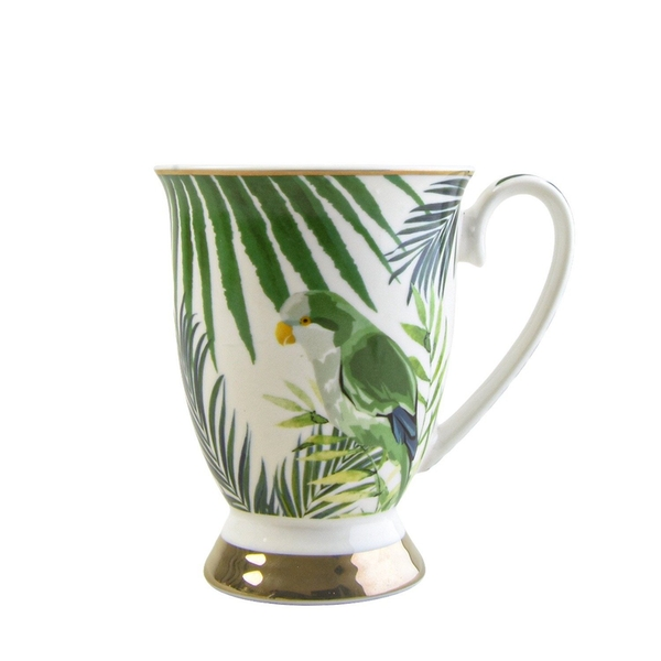 Tall Fancy Footed Mug Emerald Eden Leaves and Birds