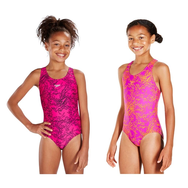 Speedo Boom Allover Splashback Swimsuit Junior Pink/Black 24""