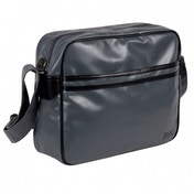 Lonsdale 2 Striped Flight Bag Charcoal