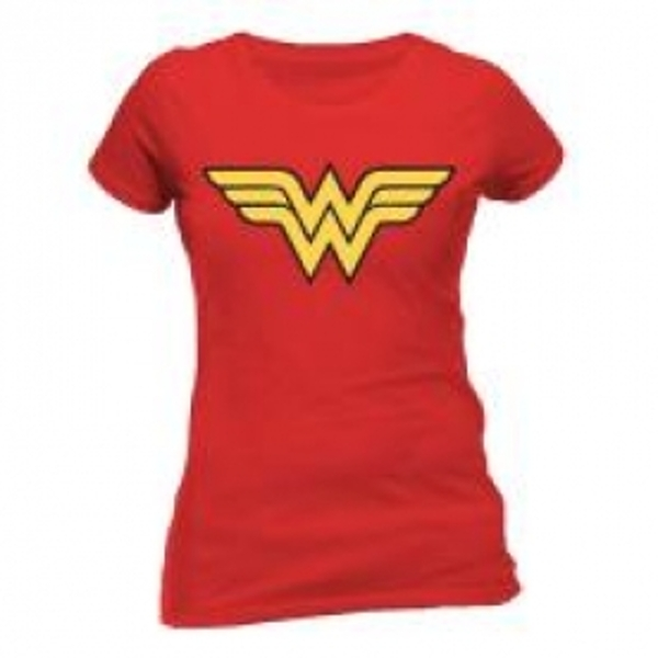 DC COMICS Women's Wonder Woman Logo Fitted T-Shirt, Large, Red