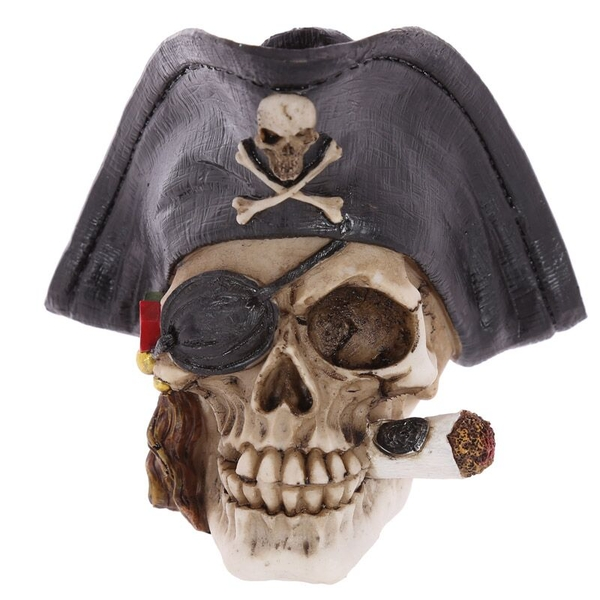 Gothic Pirate Skull Decoration with Cigar