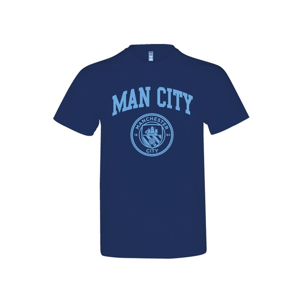 Image of Man City Crest T Shirt Navy Adults S
