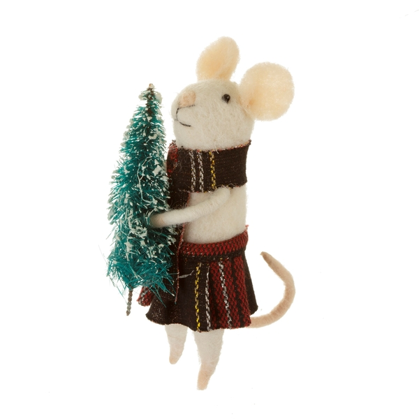 Sass & Belle Tartan Mouse with Tree Felt Standing Decoration