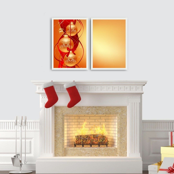 2PBCTNOEL-02 Multicolor Decorative Framed MDF Painting (2 Pieces)