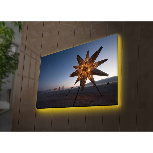 4570DACTBURN-003 Multicolor Decorative Led Lighted Canvas Painting