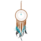 Dream Catcher Med Brown Suede Turq Feathers