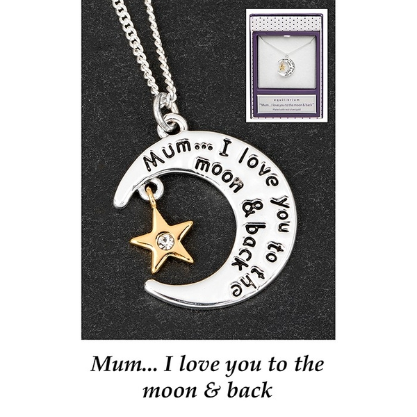 Equilibrium Silver Plated Moon Star Message Necklace Mum