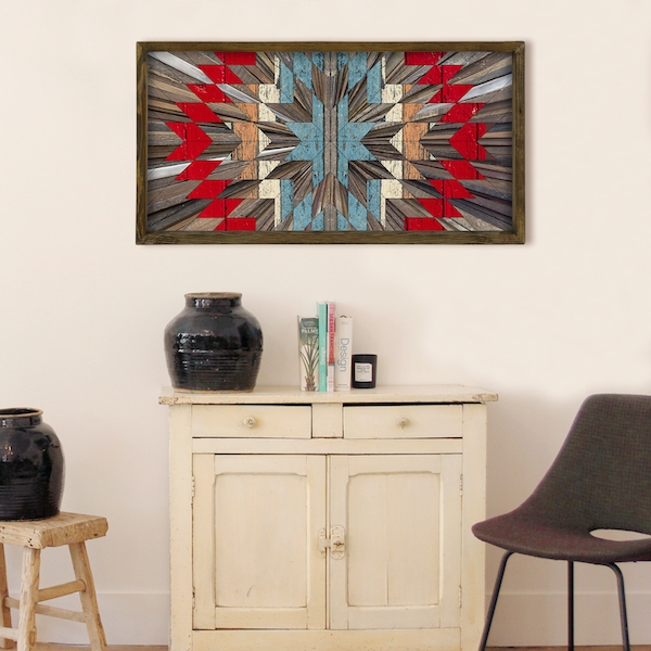 TAH015 Brown Grey White Blue Red Decorative Framed MDF Painting
