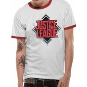 Justice League Movie - Diamond Logo Men's Small T-Shirt - White