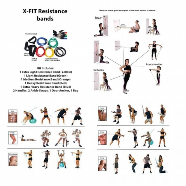 Ex-Display Resistance Bands Workout Exercise Yoga 11 Piece Set Crossfit Fitness Tubes XFit Used - Like New - Image 9