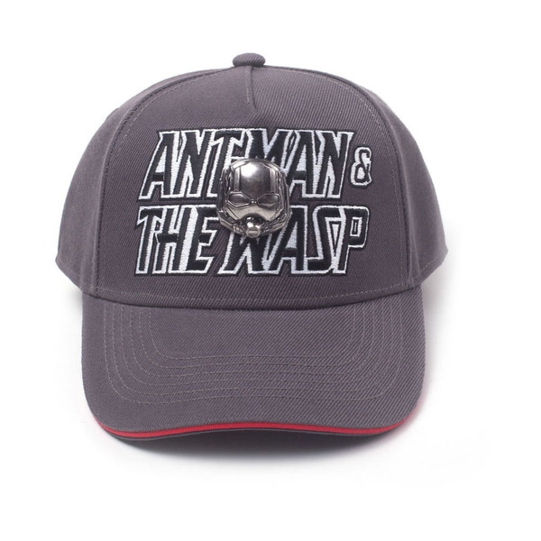 Marvel Comics - Embroidered Logo With 2D Metal Helmet Badge Unisex Pop-Lock Fitting Strap Cap - Grey/Red