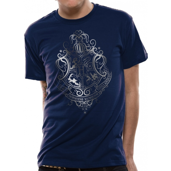 Harry Potter - Silver Foil Crest Men's Large T-Shirt - Blue