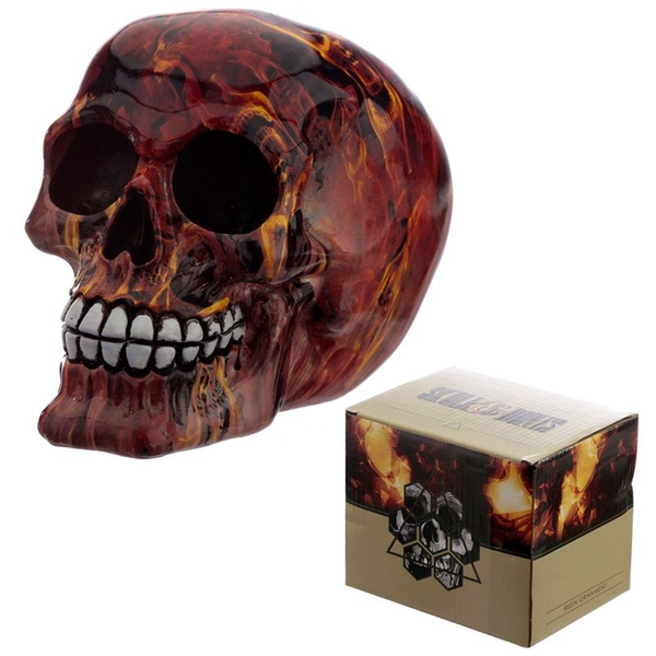 Marble Flame Effect Skull Ornament