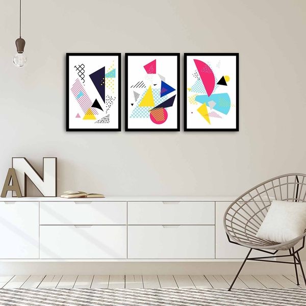 3PSCT-04 Multicolor Decorative Framed MDF Painting (3 Pieces)