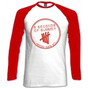 5 Seconds Of Summer Derping Stamp Raglan White Red: Large