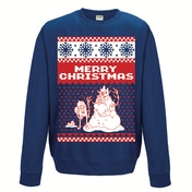 Adventure Time - Merry Christmas Men's Small Christmas Jumper - Blue