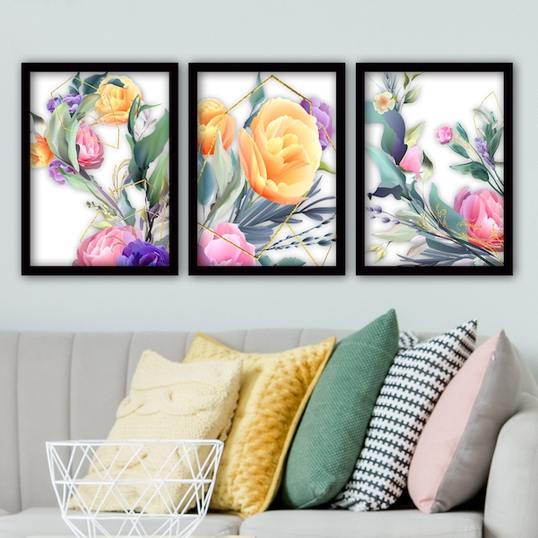 3SC50 Multicolor Decorative Framed Painting (3 Pieces)