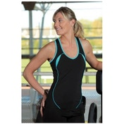 PT Ladies Running Vest Black/Turquoise UK Size 10 34inch