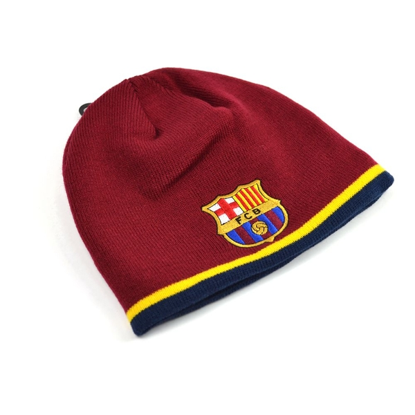 FC Barcelona Knitted Stripe Beanie Hat Red