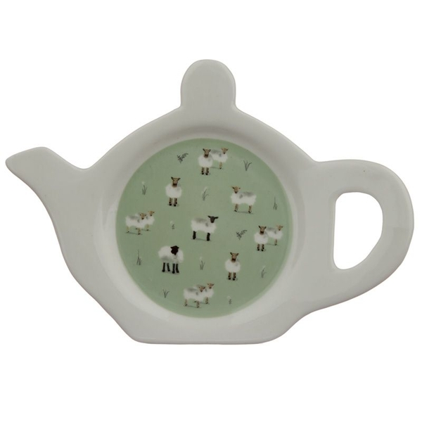 Willow Farm Sheep Porcelain Teapot Shaped Tea Bag Dish