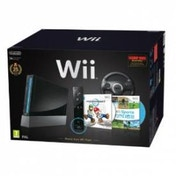 Wii Black Console + Mario Kart + Wii Sports + Black Wheel + Motion Plus Controller