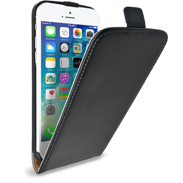 online retailer a1420 7fcea Caseflex iPhone 7 Plus Real Leather Flip Case - Black