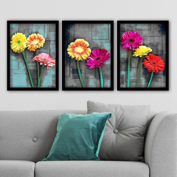3SC47 Multicolor Decorative Framed Painting (3 Pieces)