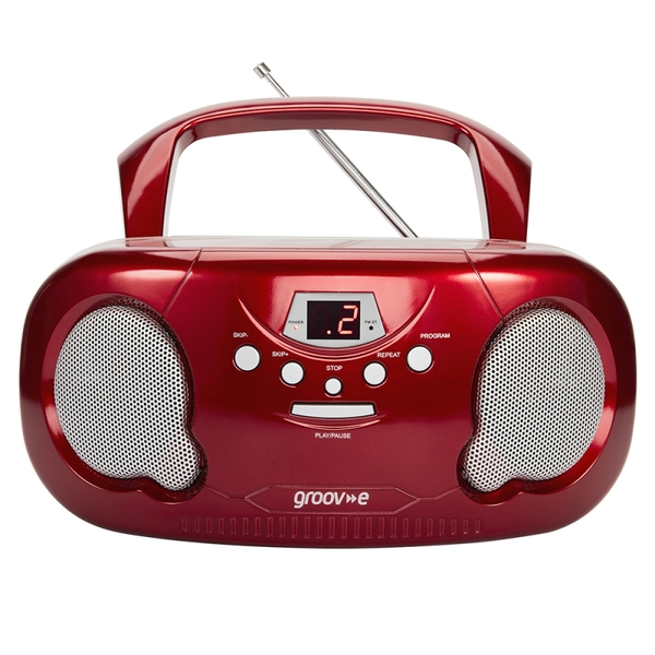 Groov-e GVPS733RD Original Boombox Portable CD Player with Radio Red UK Plug