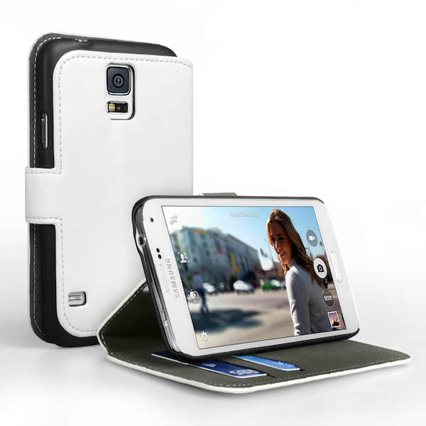 YouSave Accessories Samsung Galaxy S5 Leather - Effect Stand Case - White