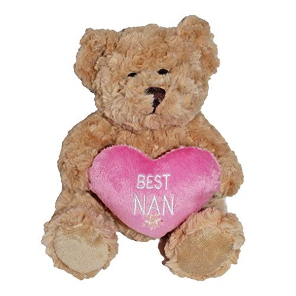 Brown Teddy Bear with Pink Heart - Best Nan (One Random Supplied)