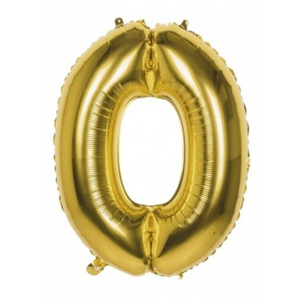 Foil Balloon Number 0 (Gold)