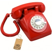 GPO 1970's Retro Style Telephone with Rotary Dial Red