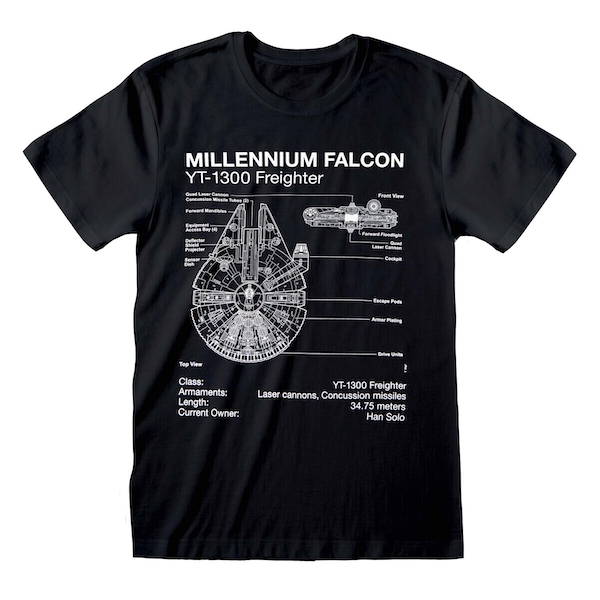 Star Wars - Millenium Falcon Sketch Unisex Small T-Shirt - Black