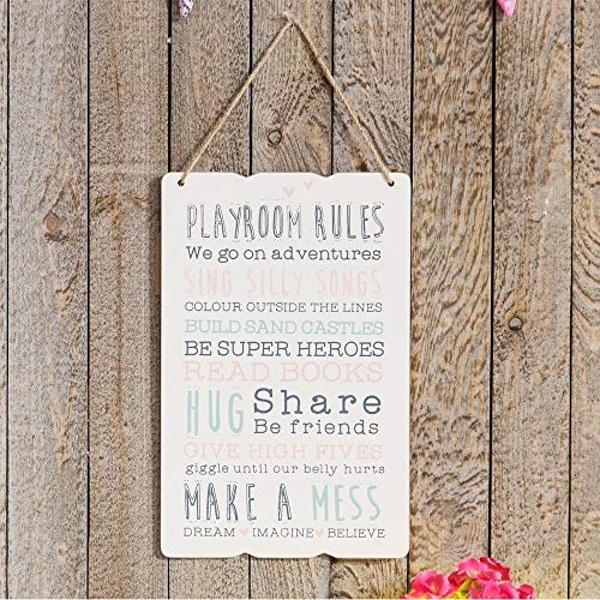 Love Life Rectangular Plaque - Playroom Rules